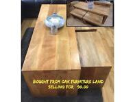 Solid oak coffee table with 2 small tables