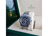 Silver Black Face Black Bezel Rolex daytona Comes Rolex bagged and boxed with paperwork