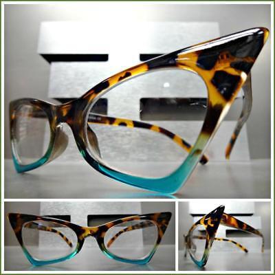 Exaggerated Retro Cat Eye Style EYE GLASSES Pointy Tortoise & Turquoise Frame