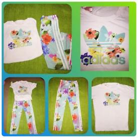 Girls Adidas tracksuit bottoms with matching tshirt