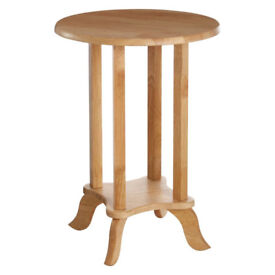 Round Top End Telephone Table Wood 2 Tier Lamp Stand Bedside Wooden Uni