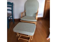 Wooden feeding / rocking chair with rocking foot stool for sale