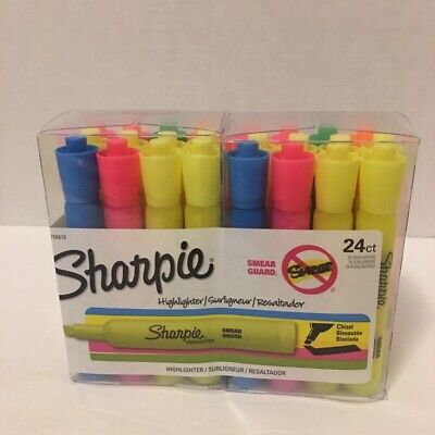 Sharpie Highlighters Pens 24 Count Package Multicolor 1801314 Smear Guard New