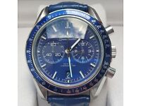 Omega speed master blue leather strap with blue bezel and blue face