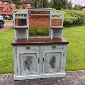 Welsh dresser storage cupboard side board with mirror Duck Egg Blue