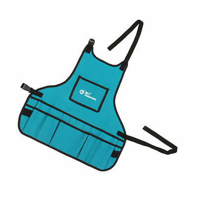 Men Work Apron With 13 Tool Pockets Pouch Belt For Tradesman Gardener Blue