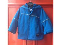 Polarn O. Pyret Kid's Waterproof Jacket. Bright Blue. Age 1-2. Size 86cm. Good condition.