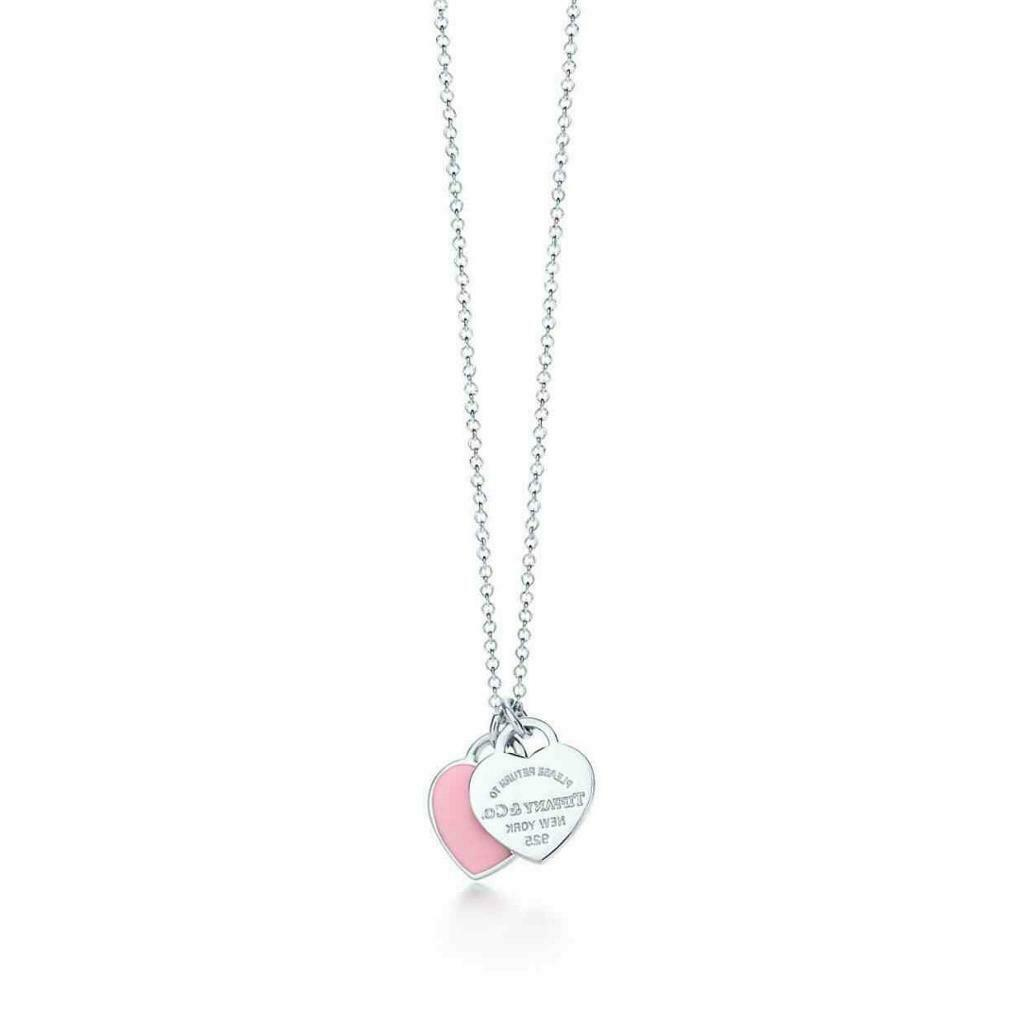 bb2506758 💍Authentic Tiffany&Co Return to Tiffany Double PINK Heart Tag Sterling  Silver Necklace/Pendant💕