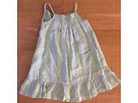 Lovely Stripy Linen Girl's Dress in Apple Green