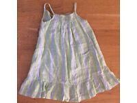 Lovely stripy Linen Dress in Apple Green