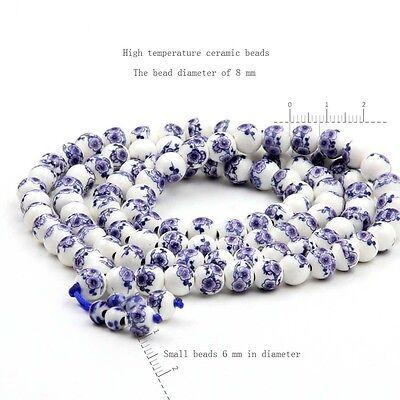 - Plum Blossom Design Porcelain Tibet Buddhist 108 Prayer Beads Mala Necklace