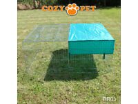 rabbit outdoor runs / pens / enclosures / with roofs.