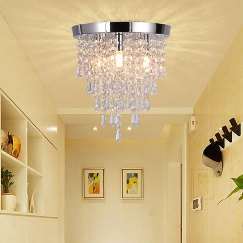 Chandelier Crystal Chandelier Lighting 3 Lights Flush Mount