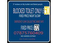 Blocked toilets, leaks, showers all plumbing work undertaken