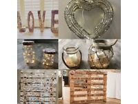 Rustic Wedding items for hire & purchase in Newcastle. Fairy lights, jars, bunting, LOVE signs etc