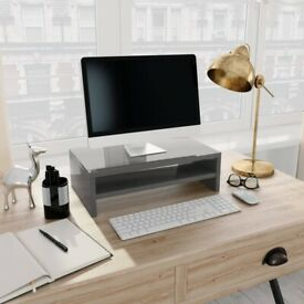 Monitor Stand High Gloss Grey 42x24x13 cm Chipboard-800224