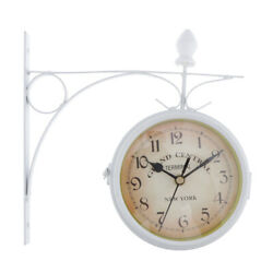 DOUBLE SIDED  CLOCK STATION GARDEN OUTDOOR WALL MOUNTED -White