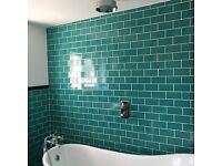 Wall tiles - 2sq m approx Teal crackle effect