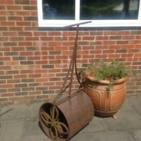 "Antique Victorian Garden Lawn Roller Cast Iron 21"" Roller diameter"