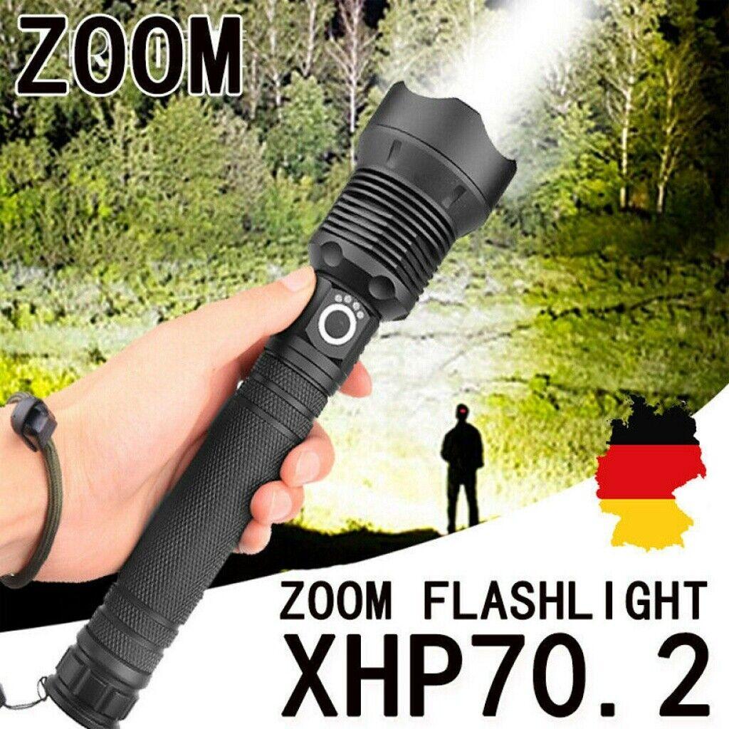 120000 Lumens XHP70.2 Powerful LED Flashlight USB Zoom taktische Taschenlampe GE