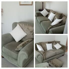 Quality 3 piece suite with matching footstool