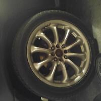 "17"" 4x114.3 alloy wheels with good tires"