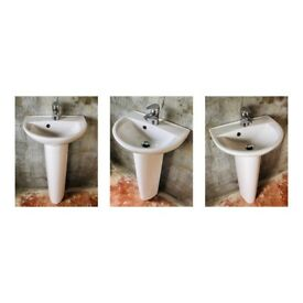 SMALL / MEDIUM SINK WITH PEDESTAL & MIXER TAP FOR BATHROOM CLOAKROOM TOILET ROOM