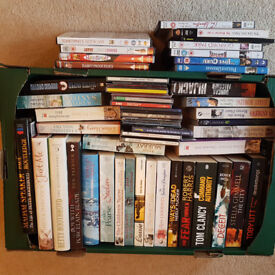 Box of mixed books and DVD's