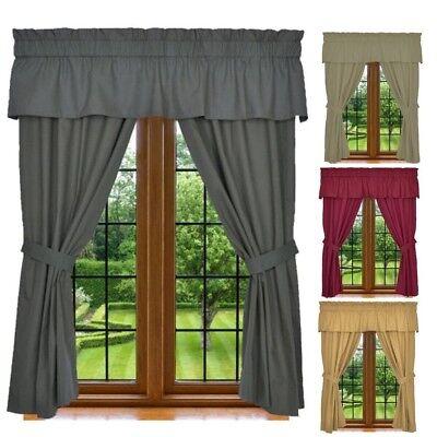 Window Curtain Set - 5 Piece Set Includes 2 Panels, 1 Valance & 2 Tie Backs