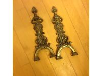 Pair of brass fire dog ends