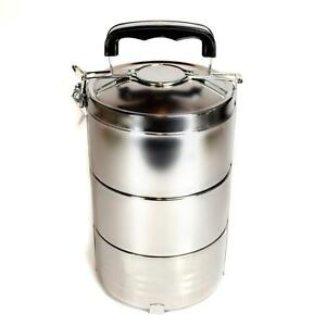 stainless steel insulated 3 tier lunch box 1 8 liter 60 oz bento tiffin stacking ebay. Black Bedroom Furniture Sets. Home Design Ideas