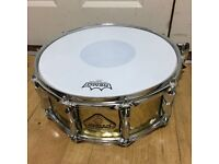 """Jinbao 14"""" x 5.5"""" Hammered Brass Snare Drum with Upgraded Throw-off"""