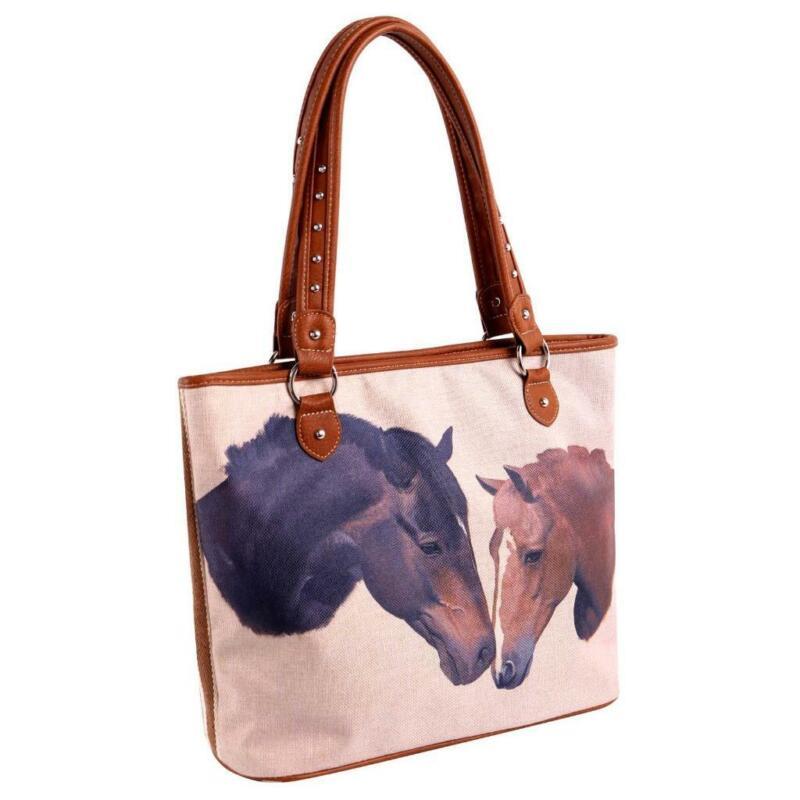 Montana West Pet Printed Striped Canvas Horses Tote Bag Handbag Purse