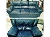 Dark blue leather 3 seater and chair in good condition can deliver