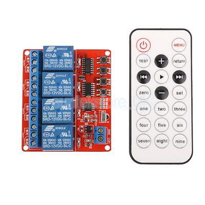12V 4CH Channel IR Infrared Wireless Remote Control Learning Relay Module ()
