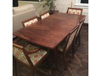 Vintage cherry wood dining table (extends to seat 10) and 6 chairs