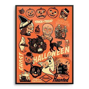 beistle vintage 50s 60s halloween decoration poster print witch mondo rare - Halloween Decorations Ebay