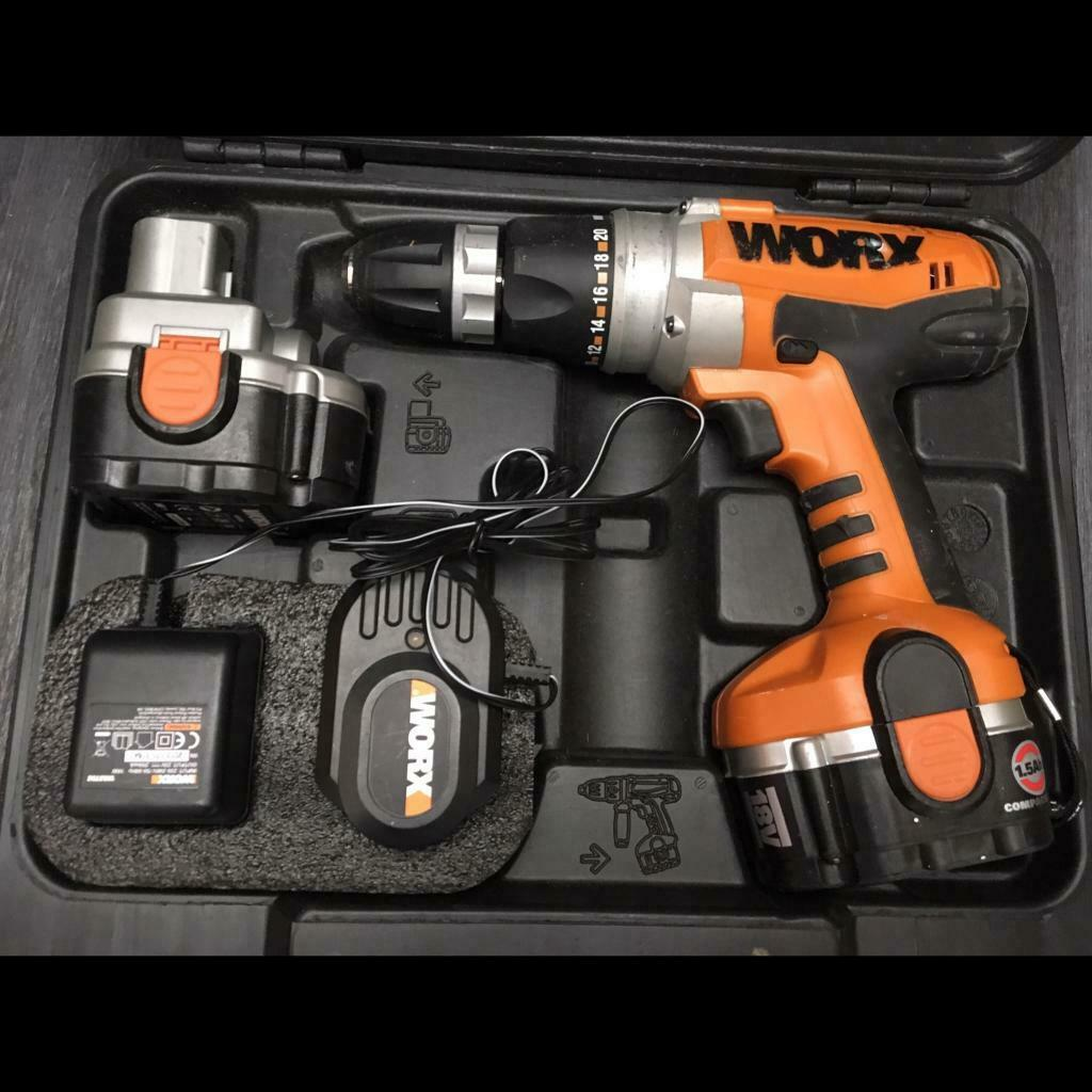 Worx 18v cordless drill with two battery and charger and bits | in  Harrogate, North Yorkshire | Gumtree