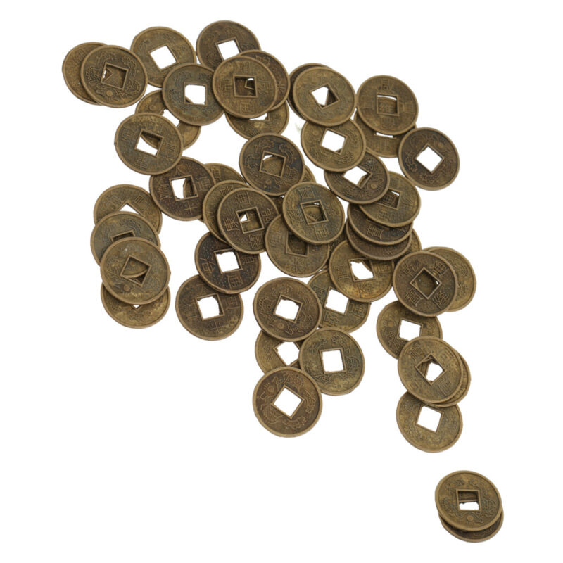 50pcs Chinese Lucky Coins 18mm- China Feng Shui I Ching Charm -Lucky Money Alloy