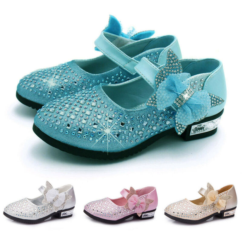 Toddler Kids Baby Girls Shoes Crystal Bling Sequin Single Pr