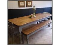 NEW HANDMADE SOLID PINE FARMHOUSE 7FT TABLE, TWO BENCHES AND TWO CHAIRS