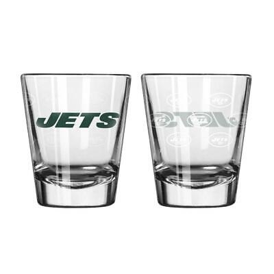 New York Jets Satin Etch Shot Glass 2 Pack [NEW] NFL Drink Liquor Shooter New York Jets Shot Glass
