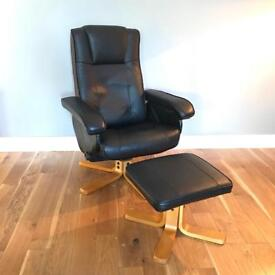 Black Leather Recliner Chair Seat with Footstool