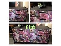 Chest of Drawers black with floral decoupage