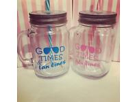 2 x Mason Jars with Matching straw and quote