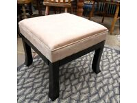 Cream padded Satin Stool with black wood legs for Dressing table 46 x 46cm Height 40cm