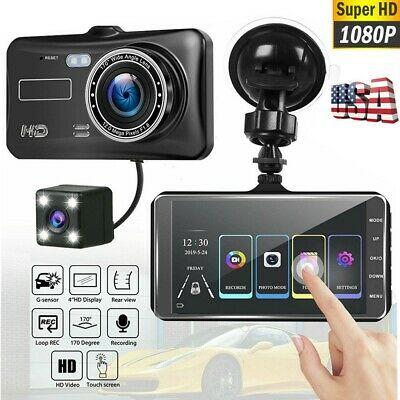 4'' Dual Lens Camera 1080P HD Car DVR Vehicle Video Dash Cam Recorder G-Sensor