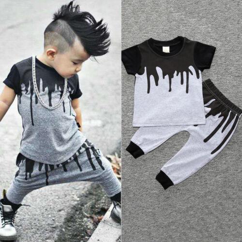 2pcs Infant Baby Kids Boys T-shirt Tops Harem Pants Leggings