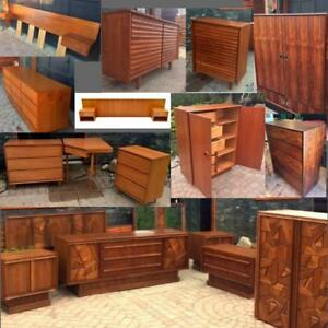 REFINISHED Mid Century Modern Teak Rosewood Dressers,Teak, Walnut Bedroom Set, Headboard w nightstands, Wardrobe, Chest