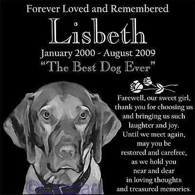 Personalized Vizsla Dog Pet Memorial 12x12 Granite Headstone Grave Marker Stone